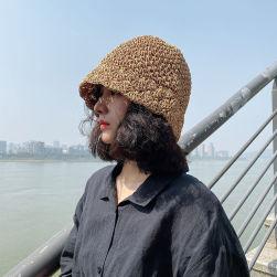 Ukawaii 夏を楽しむ 上品な可愛さ 草編み 透かし彫り 切り替え 5色展開 帽子
