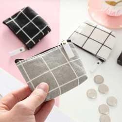 Ukawaii ins超人気 韓国風 シンプル チェック 手持ち コイン ズック 財布