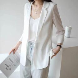 Ukawaii 薄手 ファッション 無地 折り襟 7分袖 レディース スーツ