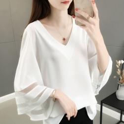 Ukawaii 欠かせない 韓国風 ファッション メッシュ 切り替え 透かし彫り 大きいサイズ Tシャツ