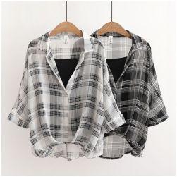 Ukawaii おしゃれ度高め カジュアル 2色 チェック柄 レトロ 折襟 シャツ+キャミソール 二セットアップ