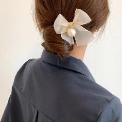 Ukawaii 上品なシルエット エレガント パール リボン ヘアピン 髪飾り U型ピン