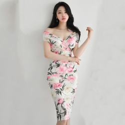 Ukawaii 目を奪われる 韓国風 フェミニン 花柄 プリント スリム スリット セクシーワンピース