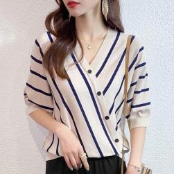 Ukawaii 絶対欲しい 清凉感 ニット ストライプ 切り替え ゆったり vネック 半袖 配色 Tシャツ