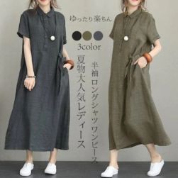 Ukawaii 売り切れ必至!レトロ 折り襟 半袖ボタン切り替えカジュアル リネン・ワンピース 森ガール ワンピース