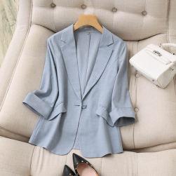 Ukawaii 優しい印象 シングルブレスト ロング 七分袖 薄手 夏 スーツ