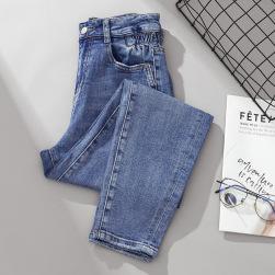 Ukawaii 絶対流行 大きいサイズ ファッション カジュアル ハイウエスト ボタン 無地 レギュラー丈 デニム タイトパンツ
