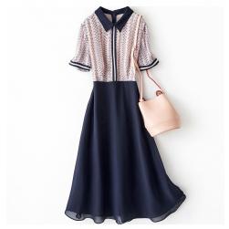 Ukawaii 夏を楽しむ ファッション シフォン プリント ウエスト締め 着瘦せ レディース ワンピース