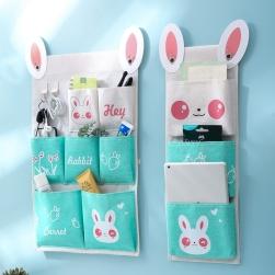 Ukawaii 超かわいい アルファベット プリント 配色 切り替え 壁掛け式 収納袋