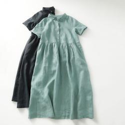 Ukawaii 大人可愛い 綿麻 無地 ギャザー飾り ハイウエスト 半袖 Aライン ラウンドカラー カジュアルワンピース