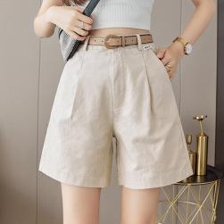 Ukawaii 美人度アップ シンプル ハイウエスト ベルト付き ショート丈 無地 ショートパンツ
