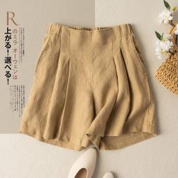 Ukawaii 定番シンプル シンプル ハイウエスト ショート丈 綿麻 無地 ショートパンツ