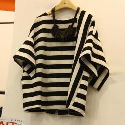 Ukawaii シンプル 絶対欲しい プルオーバー ストラップ柄 ゆったり 体型カバー 無地 Tシャツ
