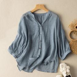 Ukawaii 存在感抜群 絶対可愛い 絶対欲しい レトロ 無地 スタンドネック シングルブレスト 七分袖シャツ
