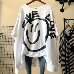 Ukawaii 体型カバー ゆったり プリント 半袖 人気 ビッグTシャツ