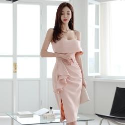 Ukawaii 人気上昇中 韓国 ファッション ボートネック ギャザー飾り スリット セクシーワンピース