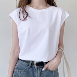 Ukawaii 新作 レディース ファッション 無地 合わせやすい 快適 半袖 Tシャツ