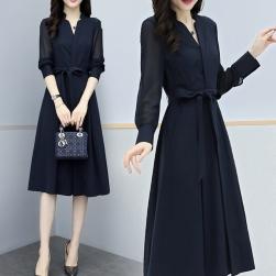 Ukawaii ファッション Vネック ウエスト締め 着瘦せ 通勤 合わせやすい シフォンワンピース
