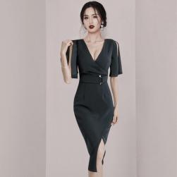 Ukawaii 超人気 韓国風 ファッション 気質 エレガント スリム 着やせ セクシーワンピース