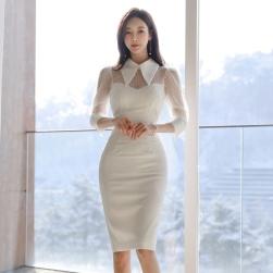 Ukawaii 雑誌掲載商品 韓国風 ファッション セクシー スリム メッシュ 切り替え ワンピース