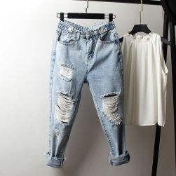 Ukawaii 売り切れ必至 ファッション無地 ゆったり アンクル丈 ダメージ加工 デニムパンツ
