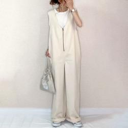 Ukawaii 日系 ファッション 新作 Vネック 無地 オールインワン オーバーオール