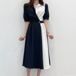 Ukawaii 韓国ファッション 配色 折り襟 中袖 Aライン レディース デートワンピース
