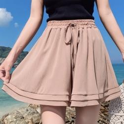 Ukawaii 絶対欲しい ファッション ハイウエスト ショート丈 無地 ボウタイ ショートパンツ