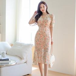 Ukawaii 韓国風ファッション シフォン 花柄 プリント vネック スリム 着瘦せ フィッシュテール ワンピース
