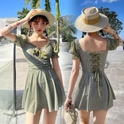 Ukawaii 超かわいい 清新 ファッション 花柄 プリント 半袖 ワンピース 水着