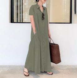 Ukawaii 欠かせない シンプル 無地 多色 綿麻 ゆったり ポケット付き ロング カジュアルワンピース