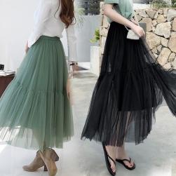 Ukawaii 人気集中アイテム 無地 スウェット ファッション おしゃれ メッシュ ロングスカート