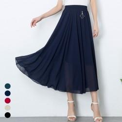 Ukawaii 絶対欲しいボヘミアンスタイルシフォンAラインシンプルプリーツスカート
