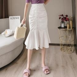 Ukawaii おしゃれ度高め フェミニン ハイウエスト フィッシュテール ギャザー飾り ボウタイ スカート