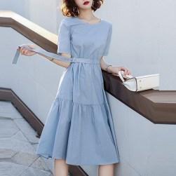 Ukawaii 韓国風ファッション フェミニン ハイウエスト ベルト付き 切り替え プルオーバー デートワンピース
