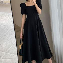 Ukawaii 柔らかくて優しい印象 ファッション パフスリーブ ハイウエスト スクエアネック プルオーバー ロングワンピース