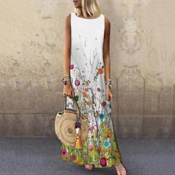 Ukawaii 夏を楽しむ 花柄 プリント ファッション ラウンドネック ゆったり ロングワンピース