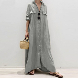 Ukawaii 超人気 無地 折り襟 長袖 全3色 シングルブレスト カジュアルワンピース