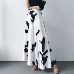 Ukawaii 高級感 エレガント カジュアル ハイウエスト プリント Aライン スカート