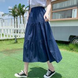 Ukawaii レトロ 簡約 合わせやすい Aライン 無地 デニム ハイウエスト レディース スカート