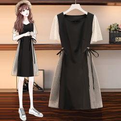Ukawaii おしゃれ 若見え メッシュ 切り替え キラキラ ウエスト締め 着瘦せ ファッション ワンピース