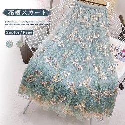 Ukawaii 可愛いデザイン 刺繡 メッシュ Aライン レディース スカート