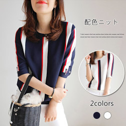 Ukawaii 品質いいな新品 ラウンドネック 配色 ストライプ柄 半袖 切り替え 韓国系 エレガント ファッション Tシャツ