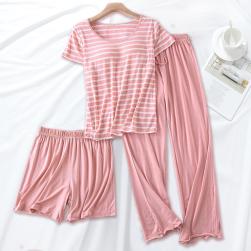Ukawaii【3点セット】肌さわり良い 部屋着 ボーダー柄 Tシャツ+ゆったり 短パン+七分丈/ロング丈 パンツ パジャマセット