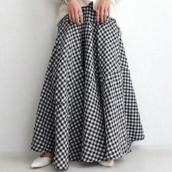 Ukawaii おしゃれ度アップ シンプル レトロ ハイウエスト チェック柄 Aライン スカート