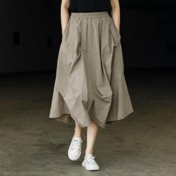 Ukawaii 話題沸騰中 カジュアル ハイウエスト 無地 ギャザー飾り Aライン スカート