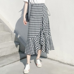 Ukawaii 美人度アップ シンプル ハイウエスト チェック柄 ボウタイ 不規則 スカート