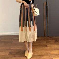 Ukawaii お買い得 シンプル レギュラーウエスト プリーツスカート ギャザー飾り 配色 スカート