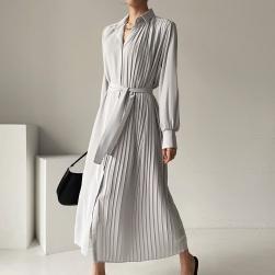 Ukawaii フェミニン 気質 無地 ギャザー飾り 折り襟 ベルト付き ロングワンピース