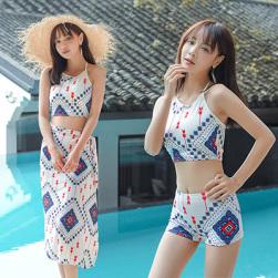 Ukawaii 3点セット 可愛い プリント レトロ ファッション 着瘦せ ホルターネック セパレート 水着 ビキニ